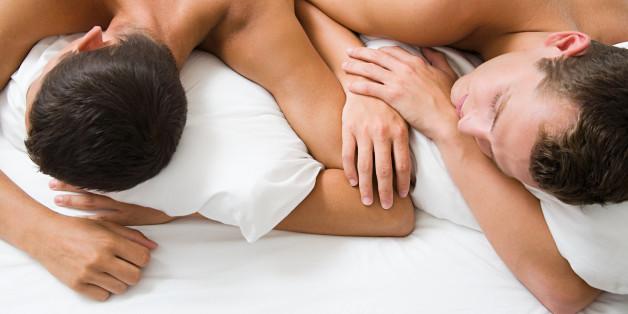 A gay couple sleeping